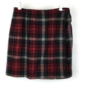 Herman Geist Red Plaid A-Line Wrap Skirt 10P